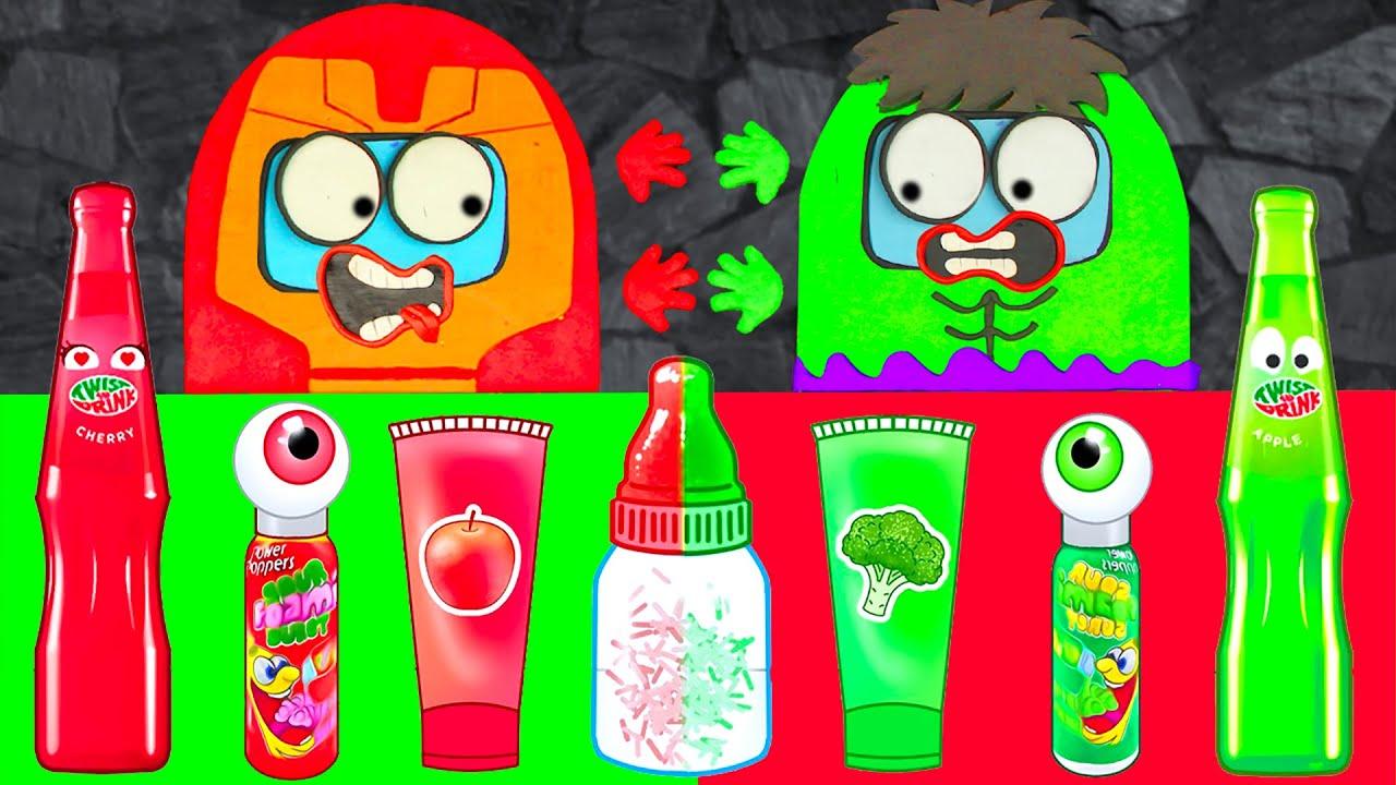 Red Food VS Green Food Challenge - Iron Among Us vs Among Hulk Battle | Mukbang ASMR Animation