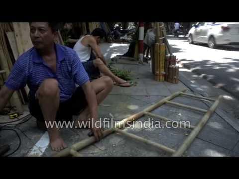 Bamboo ladder being made in Laos, Vietnam
