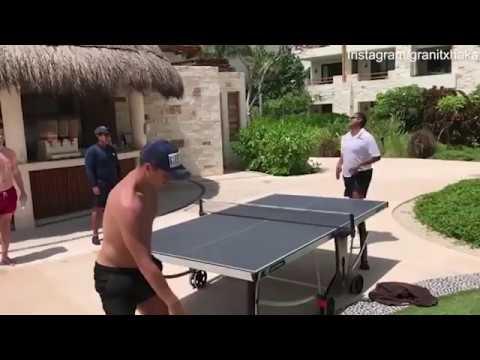 Arsenal star Granit Xhaka shows off table tennis skills on holiday