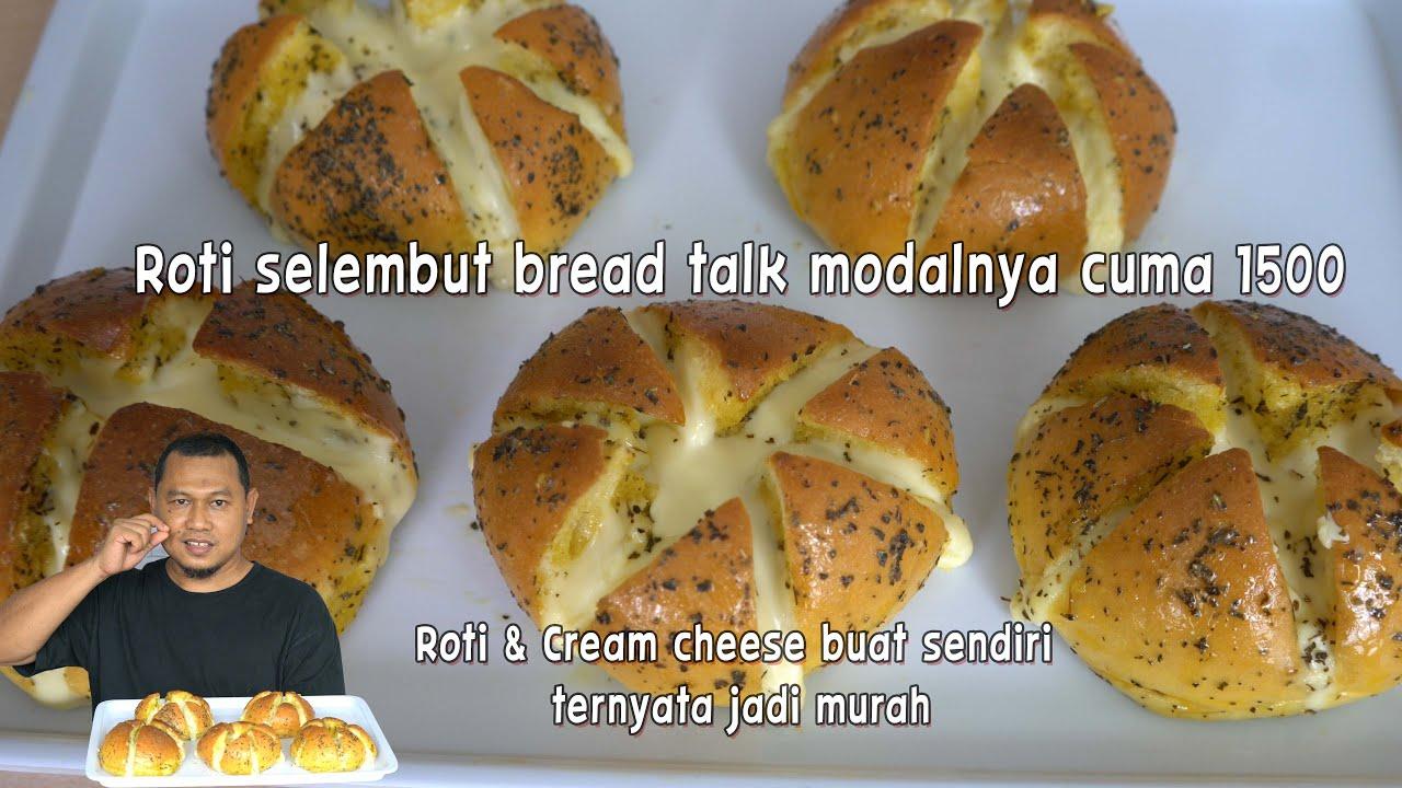 Garlic cheese bread, roti & cream cheese buat sendiri modalnya murah jadi banyak