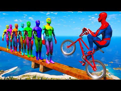 تحديات سبايدرمان ناجحة بالدراجة  - SUPERHEROES WITH BICYCLE THE CHALLENGE thumbnail
