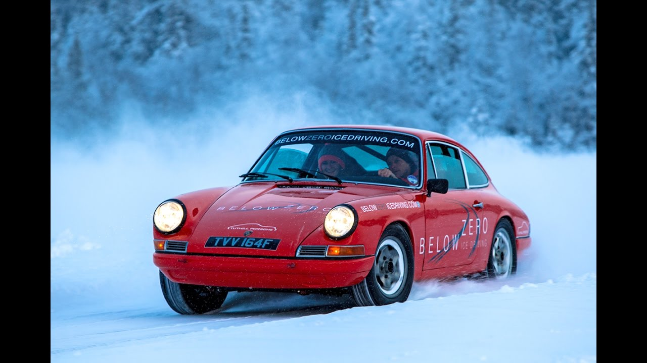 below zero ice driving sweden in classic porsche 911 rally. Black Bedroom Furniture Sets. Home Design Ideas