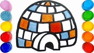 How to Draw Igloo For kids - step by step drawing