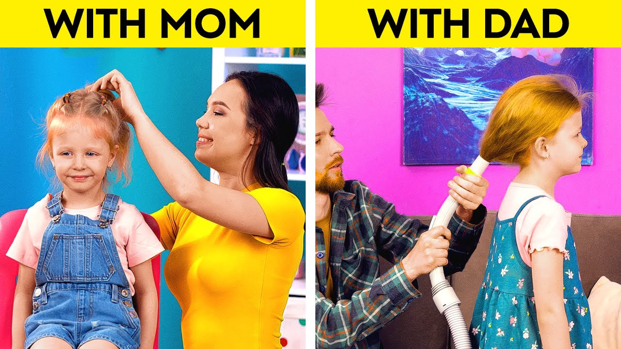 MOM vs DAD || Relatable Situations & Helpful Hacks For Parents