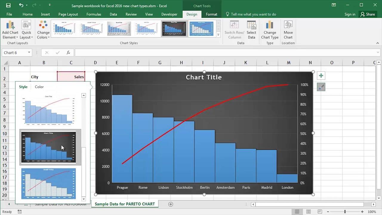 Microsoft excel creating pareto charts also youtube rh
