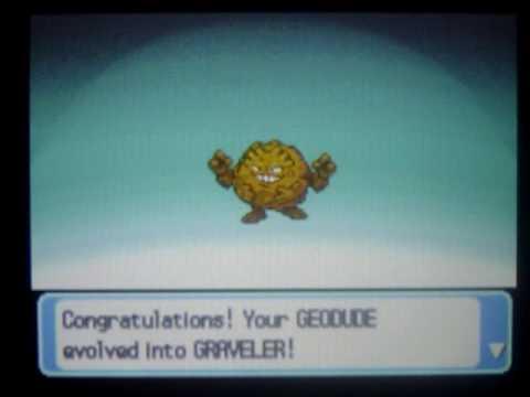 Shiny Geodude Evolves into Shiny Graveler - YouTube