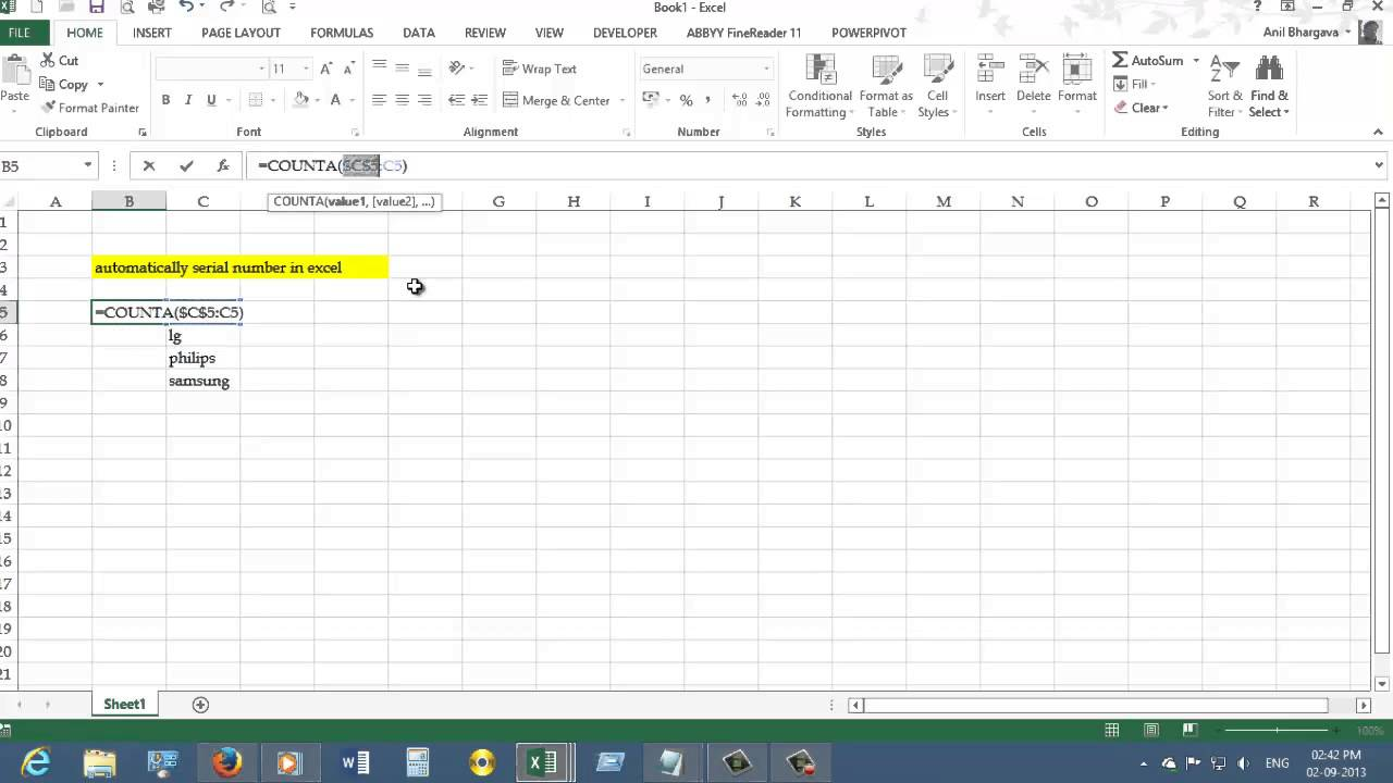 Automatically serial number in excel - YouTube
