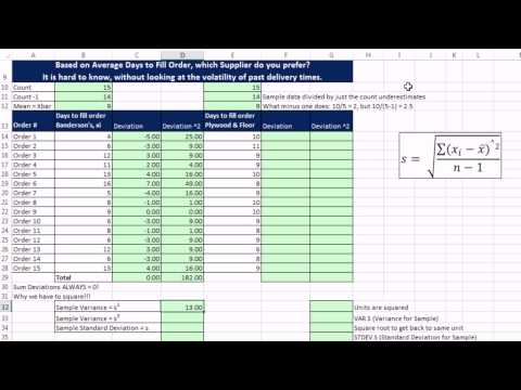 Excel 2013 Statistical Analysis #20: Standard Deviation: How Fairly Does Mean Represent Data Points?