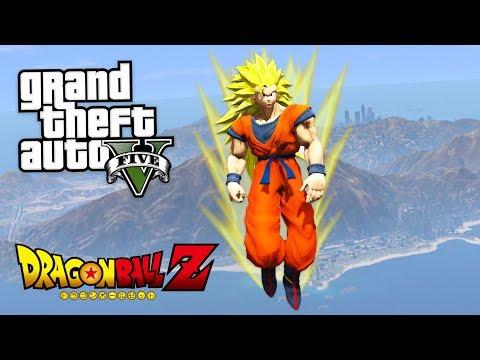 "DRAGON BALL Z ""SUPER SAIYAN 3 GOKU"" MOD w/ NEW SPIRIT BOMB, DESTRUCTO DISC, KAMEHAMEHA! (GTA 5 Mods)"