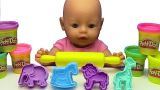 BABY DOLL LEARN COLORS !!!💗 with Play Doh Animal Molds Elephant Lion Giraffe & Creative for Kids