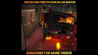 GTA 5 DESTROYING FIRE STATION IN LOS SATOS | RIP MICHAEL🤣| #shorts | nuclear vishu