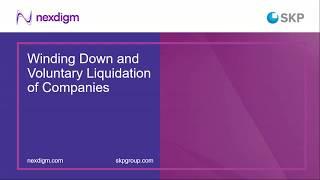 Webinar - Winding Down and Voluntary Liquidation of Companies