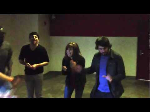 Pentatonix sing 'Without You' in a parking garage from PTXofficial facebook page