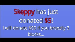 I will donate $50 to you if you breezily 3 blocks