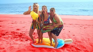 Floor is Lava Challenge at the Beach Summer Games where the Sand is now Lava. Totally TV thumbnail