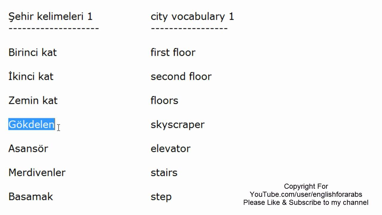 City Vocabulary Turkish part 1 -Turkish For Beginners