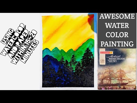 watercolor painting landscape mountains and trees for beginners | watercolor art landscape tutorial