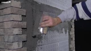 E-Board plaatsen   stap 6: de steenstrips verlijmen