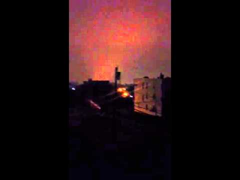 Hurricane Sandy blowing up energy transformers