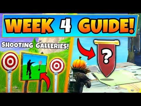 Fortnite WEEK 4 CHALLENGES GUIDE! - SHOOTING GALLERIES Locations, Banner (Battle Royale Season 6)