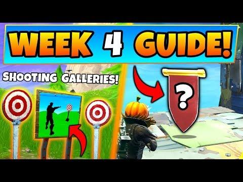 Fortnite WEEK  CHALLENGES GUIDE! - SHOOTING GALLERIES Locations, Banner (Battle Royale Season )