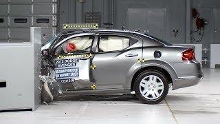 2012 Dodge Avenger driver-side small overlap IIHS crash test
