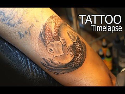 Color Koi Fish  ( Yin Yang ) On Dark Skin    TATTOO TIMELAPSE  