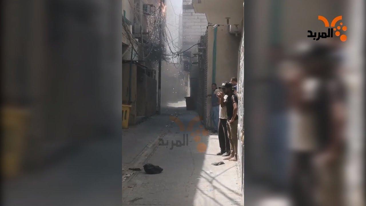 مفرقعات واحتفالات بعمود كهرباء في البصرة #المربد