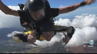 Justin Cruz looks back at his jump with the Golden Knights