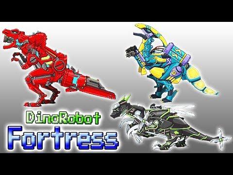 Dino Robot Fortress: Tyranno Red, Ninja Velociraptor & Lightning Parasau   Eftsei Gaming