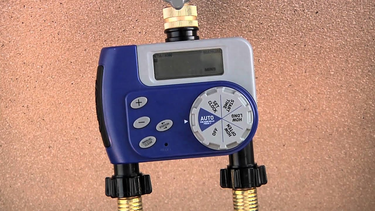 2-Outlet Hose Faucet Timer by Orbit - YouTube