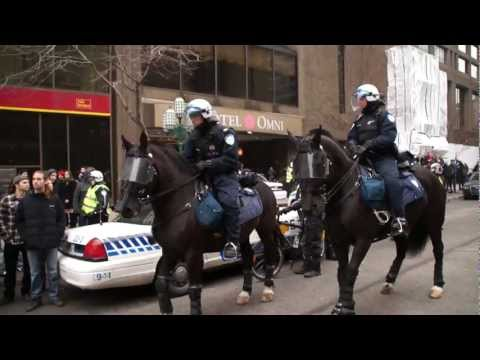 SPVM Mounted Police Face Off Against Striking Quebec Students During Protest 00058.MTS