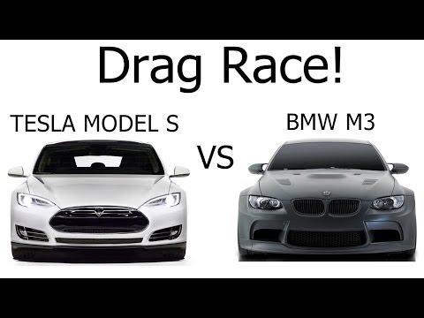 Exclusive Tesla Model S - VS - BMW M3 | Tesla Motors | vs BMW M3