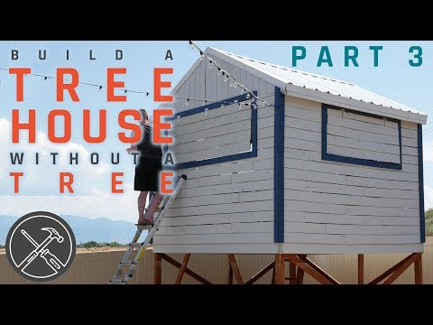 How to Build a Treeless Tree House - Part 3 - Roof, Paint and Trim