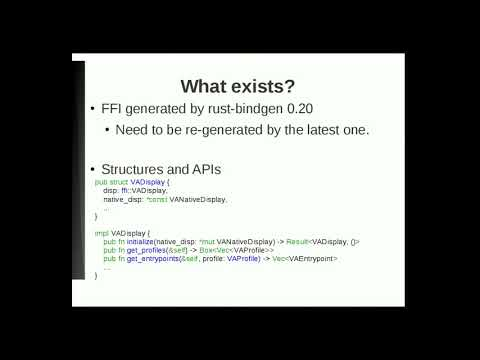 VA-API rust-binding (GStreamer Conference 2017)
