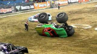 Teenage Mutant Ninja Turtles Monster Jam Truck flips over on the ro...