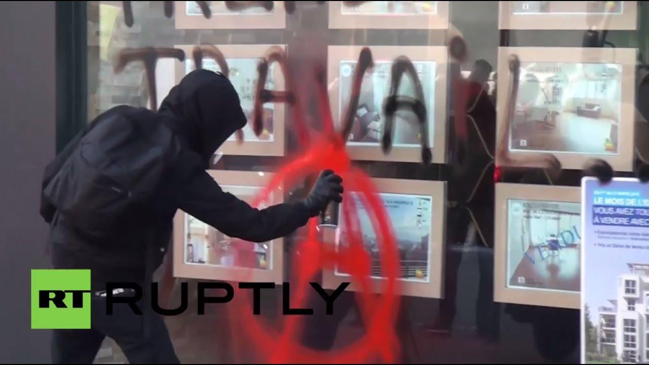В ходе протеста против реформ в сфере трудоустройства в Париже возникли беспорядки