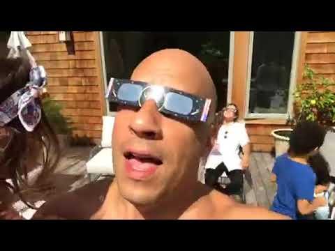 Famous actor Vin Diesel watches solar eclipse