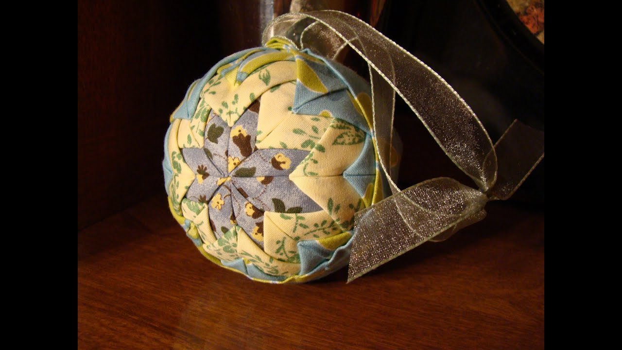 Quilted Christmas Ornament No Sew Folded Fabric Balls
