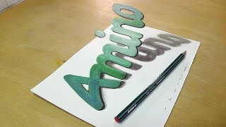 Drawing 3D Amino Letters - How to Draw 3D Letters - Trick Art Illusion