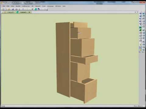 How to design drawers using Polyboard cabinet software - YouTube