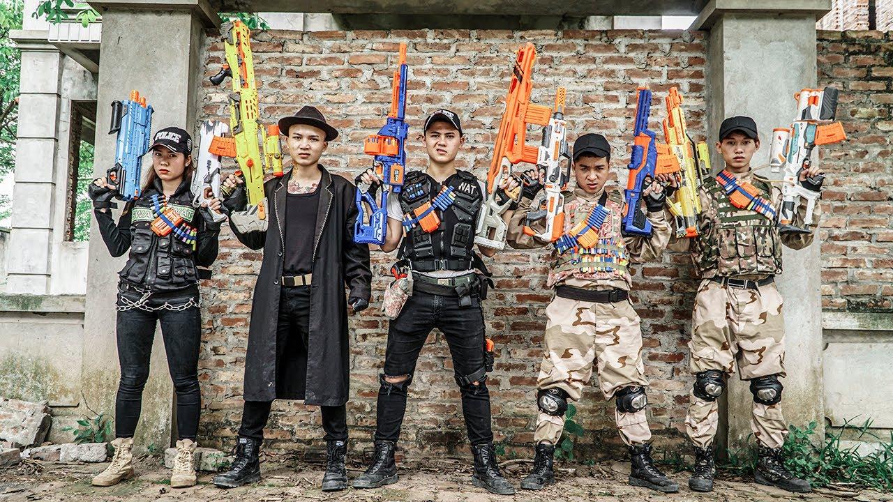 Nerf Guns War : Battle Between S.W.A.T Men SEAL TEAM And Boss  Hair Blonde Dangerous Criminal Group