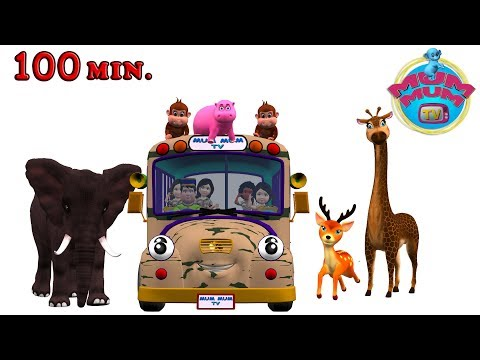Wheels On The Bus Go Round And Round Songs for Children - Animal Sounds Song | Mum Mum TV