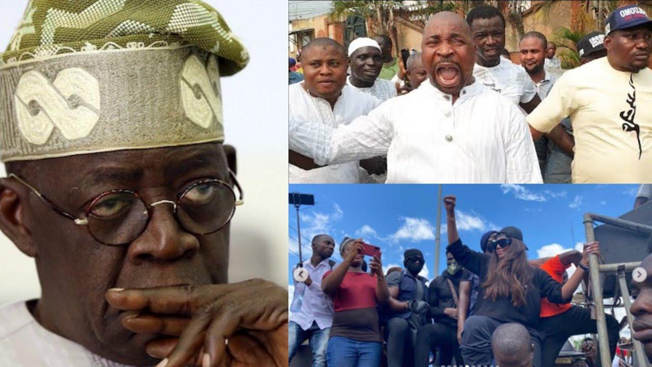 MUST WATCH: TINUBU IN ŤŘØÙßLE AS #ENDSARS PROTESTERS D€ÁLT WITH HIS MAN, MC OLUOMO TRYING TO ßR1߀