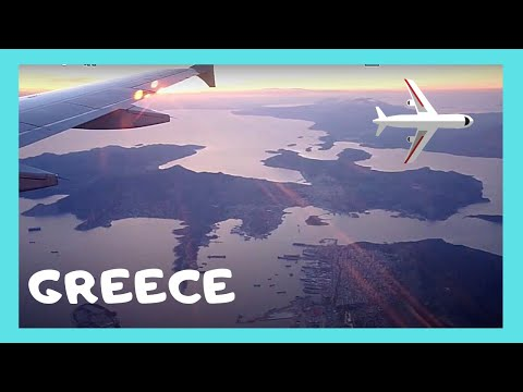 GREECE: FLIGHT from THESSALONIKI to ATHENS at sunset time
