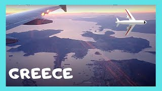 Flight from Thessaloniki to Athens, Greece, around sunset time