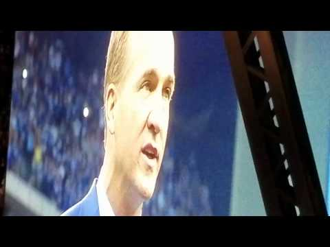 Peyton Manning #18 Jersey retirement ceremony Lucas Oil