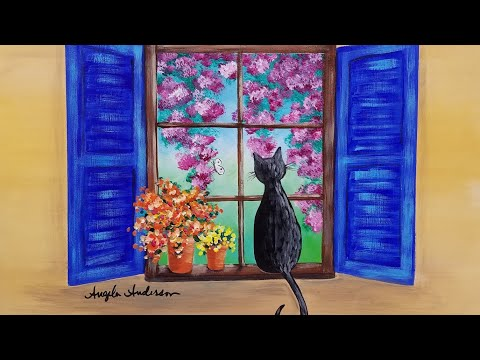 Cat In A Window With Flowers Acrylic Painting Live