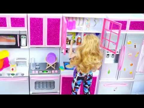 Barbie Dollhouse Play Set Kitchen Cooking Day  ||Tia Tia