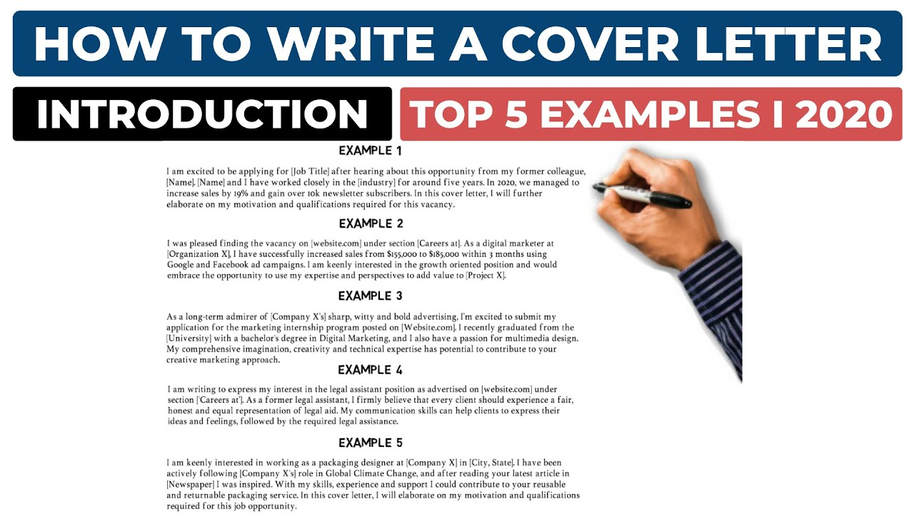 How To Write A Cover Letter Introduction Top 5 Examples Youtube